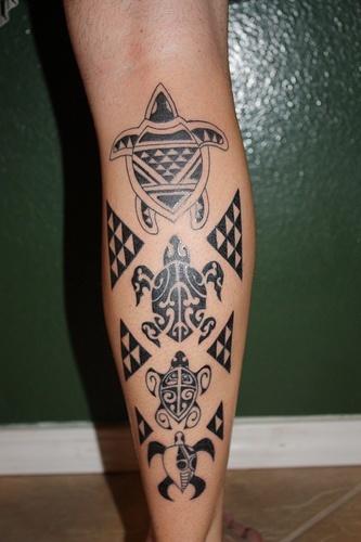 Tattoo-Tartarugas-Maori-na-Panturrilha