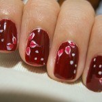 red flowers nails