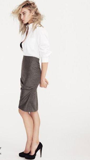 falda lápiz de largo 'midi'