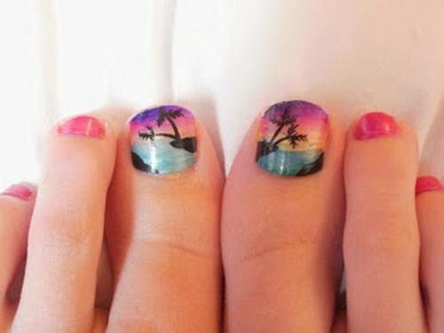 estilos-de-decoración-de-uñas-de-pies-2015-decoración-con-pegatinas-tropicales