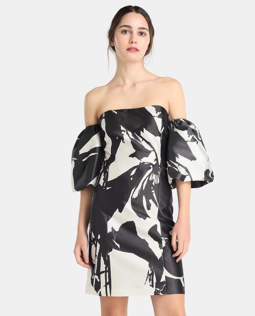 vestidos-de-noche-cortos-primavera-verano-estampado-blanco-y-negro-elcorteingles