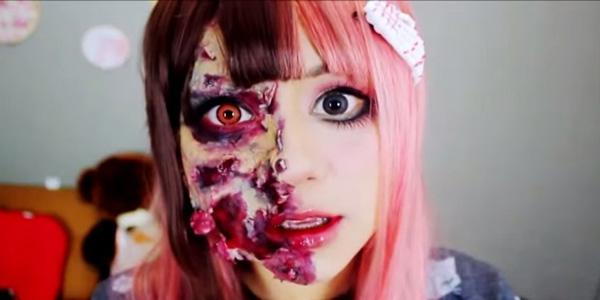 maquillaje-halloween-zombie-pelo-rosa