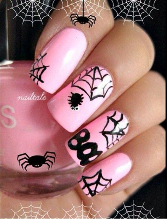 unas-halloween-rosa-chicle