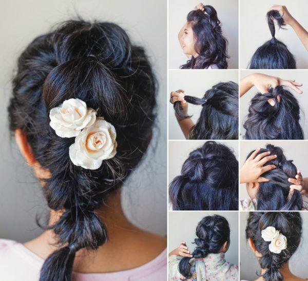 Peinados de novia 2018 trenza con coleta flores