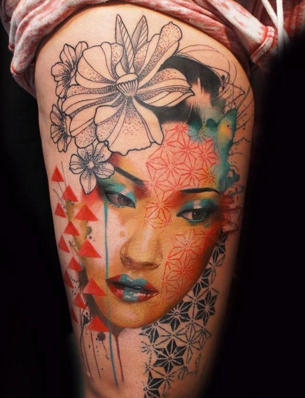 tatuajes-japoneses-geisha-azul