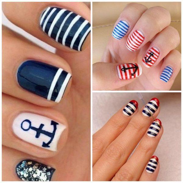 Aunque, como decimos, cada vez podemos ver uñas marineras más originales,  lo cierto es que estas uñas cuentan con unos detalles típicos que siempre  debemos