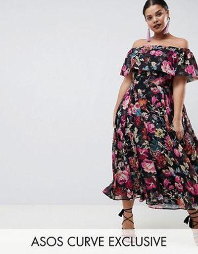 vestido-de-noche-gorditas-primavera-verano-midi-cuello-bardot-estampado-de-flores-asos
