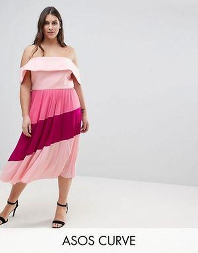 vestido-de-noche-gorditas-primavera-verano-midi-plisado-escote-bardot-neopreno-coulour-block-asos
