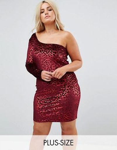 vestido-de-noche-para-gorditas-primavera-verano-cortos-asimetrico-ajustado-terciopelo-de-leopardo-rojo-asos