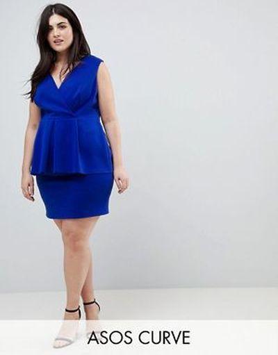 vestido-de-noche-para-gorditas-primavera-verano-cortos-de-neopreno-sobrefalda-azul-cobalto-asos